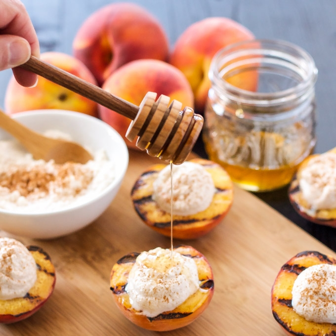 Grilled Peaches with Cinnamon Honey Ricotta - from Recipe Runner