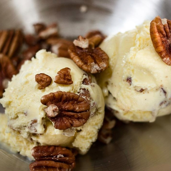 "Gerorge's Butter Pecan't Stand Ya! - Browned butter ice cream + toasted pecans""Serenity now!"""