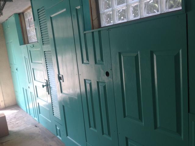 wall of doors in the new art garage
