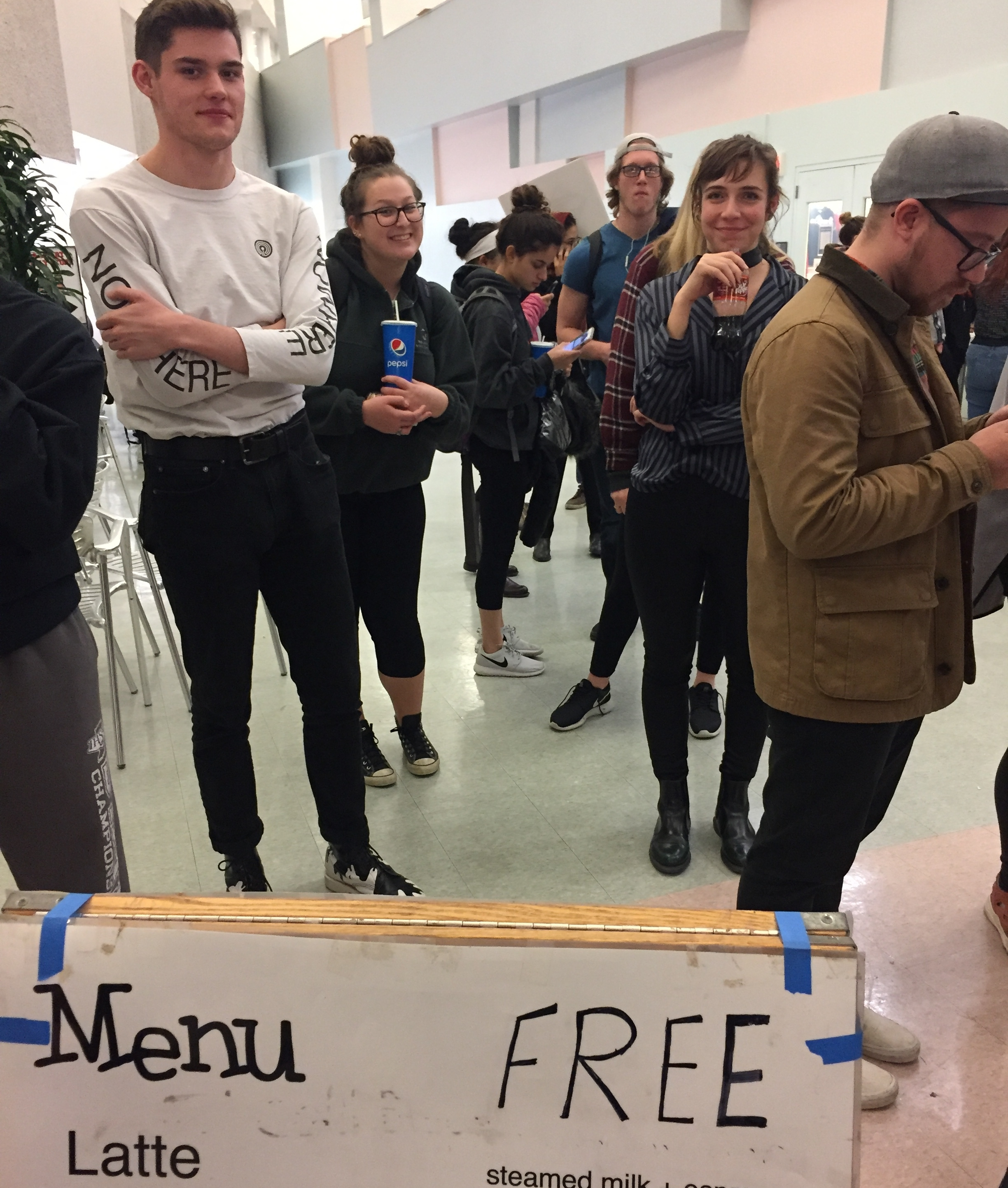 Some friends waiting in line for high-quality espresso at our semesterly late-night coffee event at DAAP. Photo by Alice Connor.
