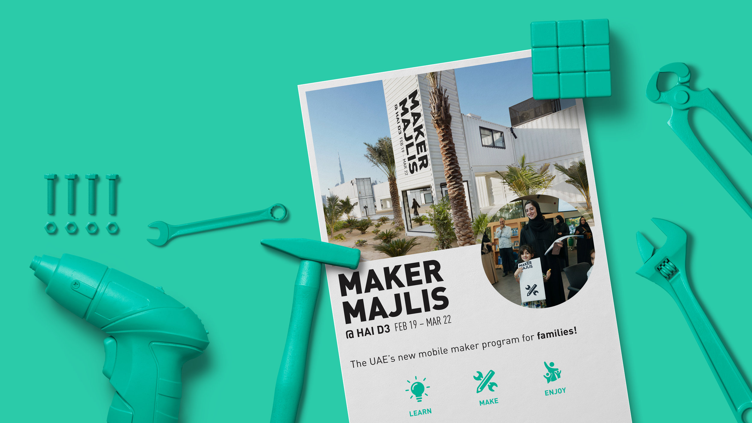A mobile majlis that goes from neighbourhood to neighbourhood,designed to bring families together to work on purposeful maker projects.