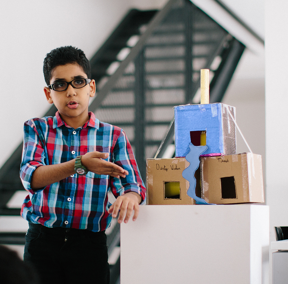 Abdulla, age 10,  designed a system that converts garbage and contaminated water into clean drinkable water in a matter of minutes.