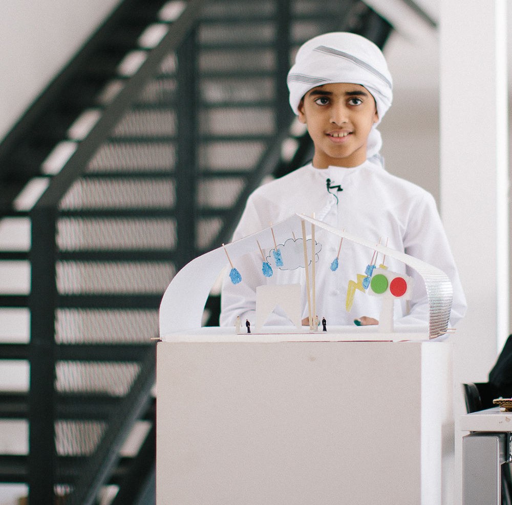 Saif, age 11,  designed a weather modification dome that can lower temperatures by simulating rain and snow in the UAE at the touch of a button.
