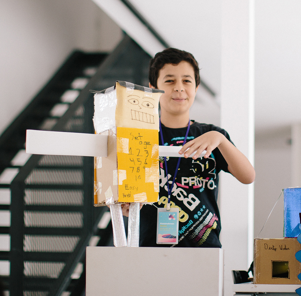 Abdulrahman, age 13,  made a robot playmate for children without friends or siblings that has an endless array of games and sports it knows how to play.