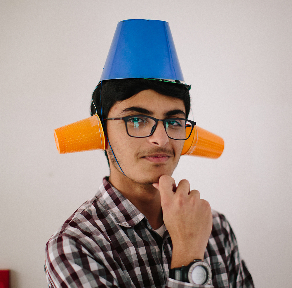Rashed, age 14 , deisgned a device that calms students during times of stress and allowing them to concentrate on their work without getting too anxious.