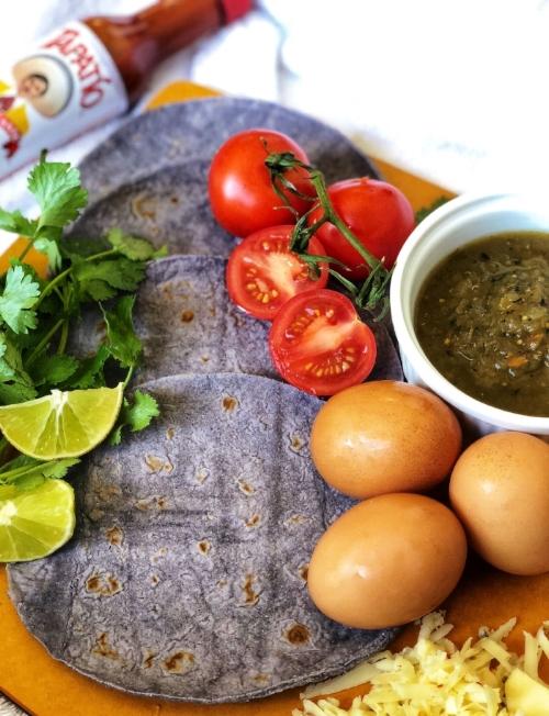 Blue corn migas tacos mise en place