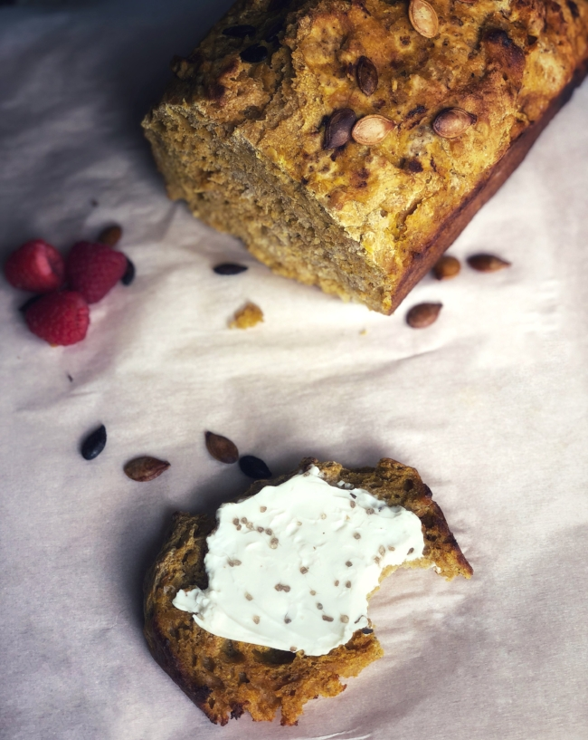"""Savory pumpkin bread with sourdough discard. Some would say unmixed, but I prefer """"marbled"""" ;)"""