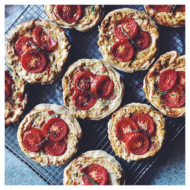 I've been waiting all year for these summer tartelettes: tomato and tuna with lots of lemon, thyme, and whole grain mustard . . . . . #summer #faitparmoi #tartelette #summertomato #fresh #handmade #pastry #baking #thefeedfeed