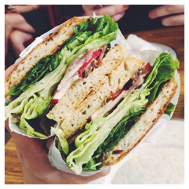 When @peacocksareruiningmylife sends you a photo of THIS lettuce ratio on the tuna sandwich from @courtstreetgrocers , you should post it immediately and then make yourself a copy cat version . . . . #nyc #courtstreetgrocers #tuna #summer #sandwich #tunasalad  #sandwichporn