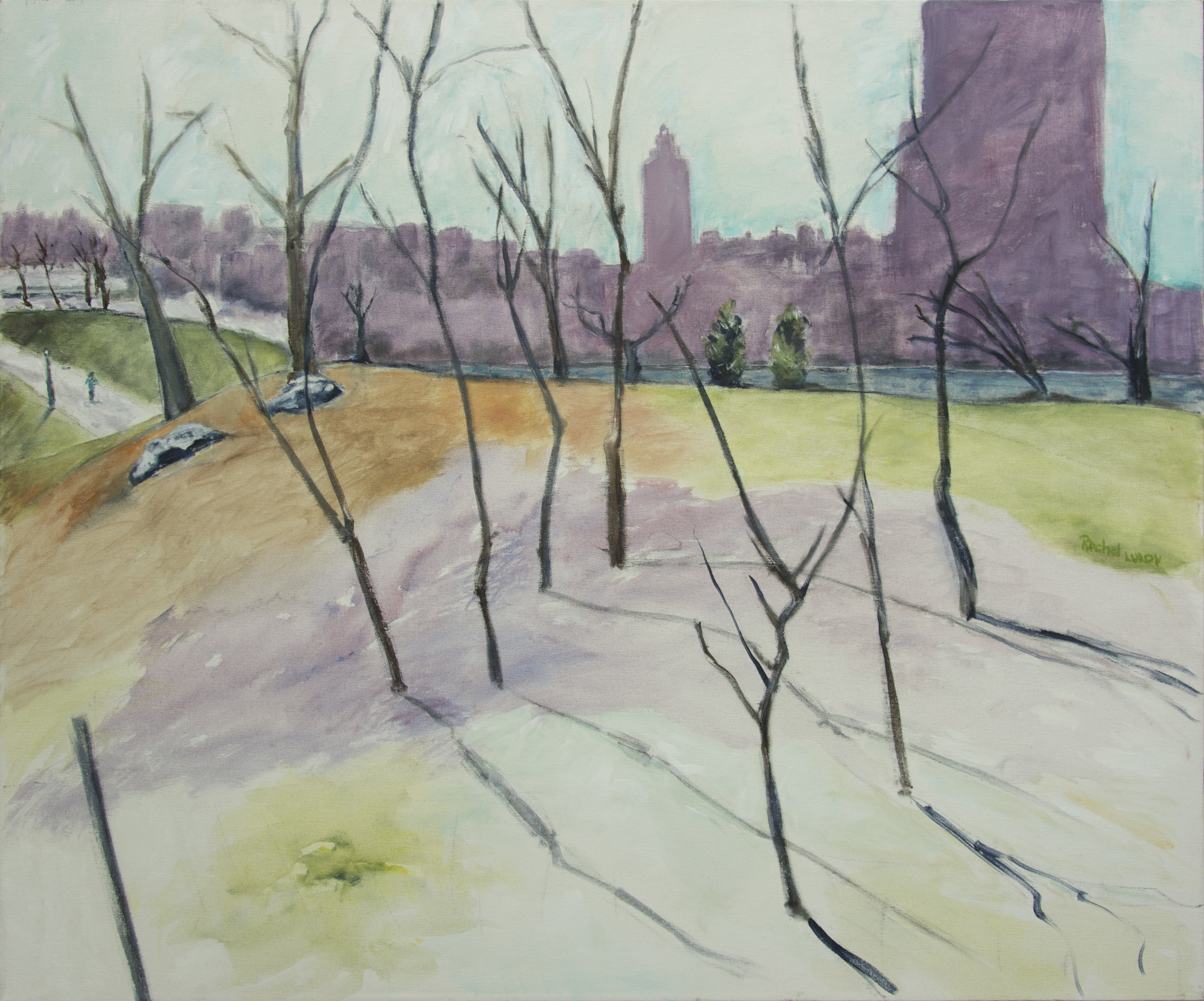 """Winter in Central Park acrylic on canvas 30""""x 36"""" Fear Follow From... acrylic on canvas 24"""" x 30"""" Rachel Lulov Segall, in a private collection."""