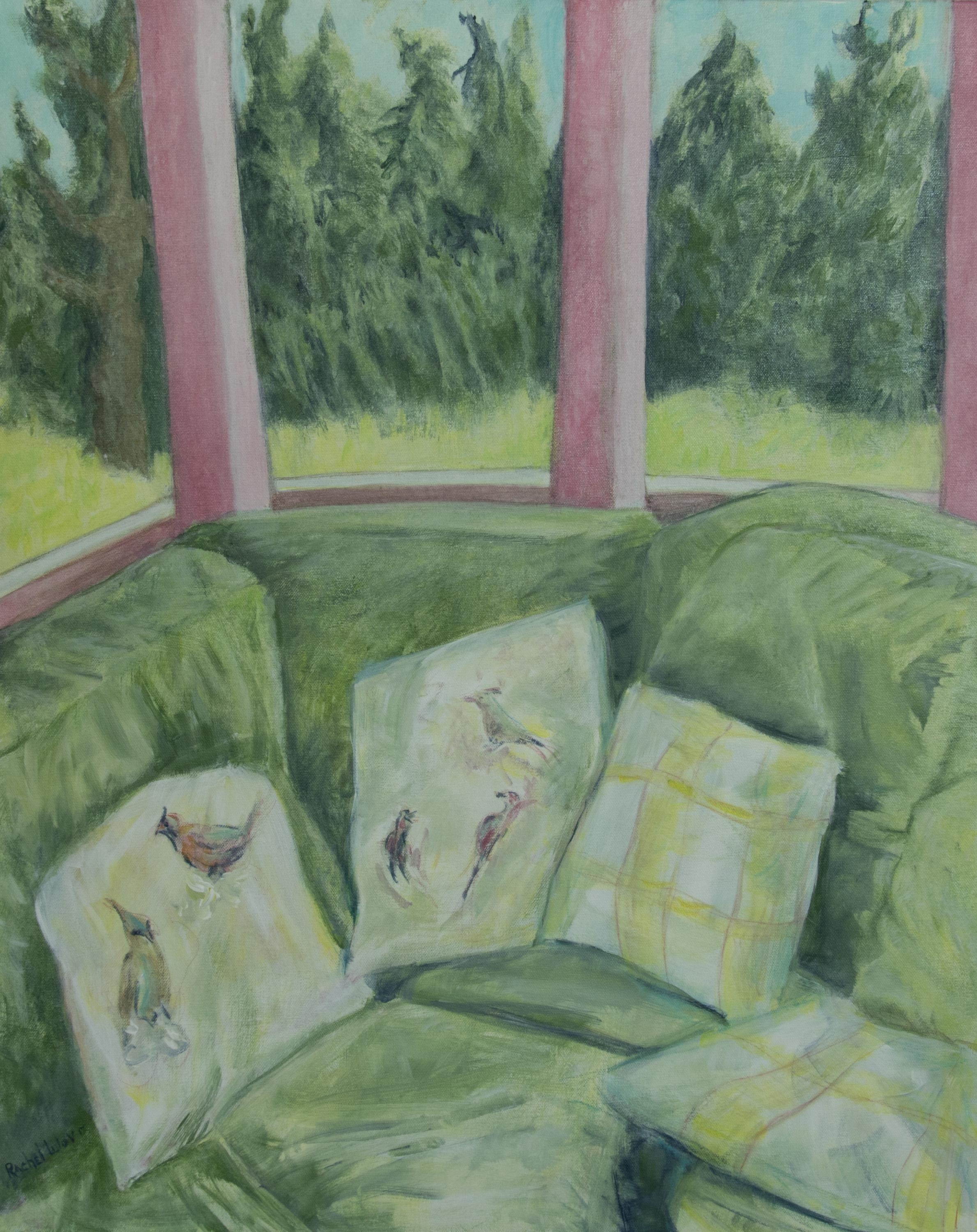 """A Bird in Hand acrylic on Canvas 24"""" x 30"""" Fear Follow From... acrylic on canvas 24"""" x 30"""" Rachel Lulov Segall"""