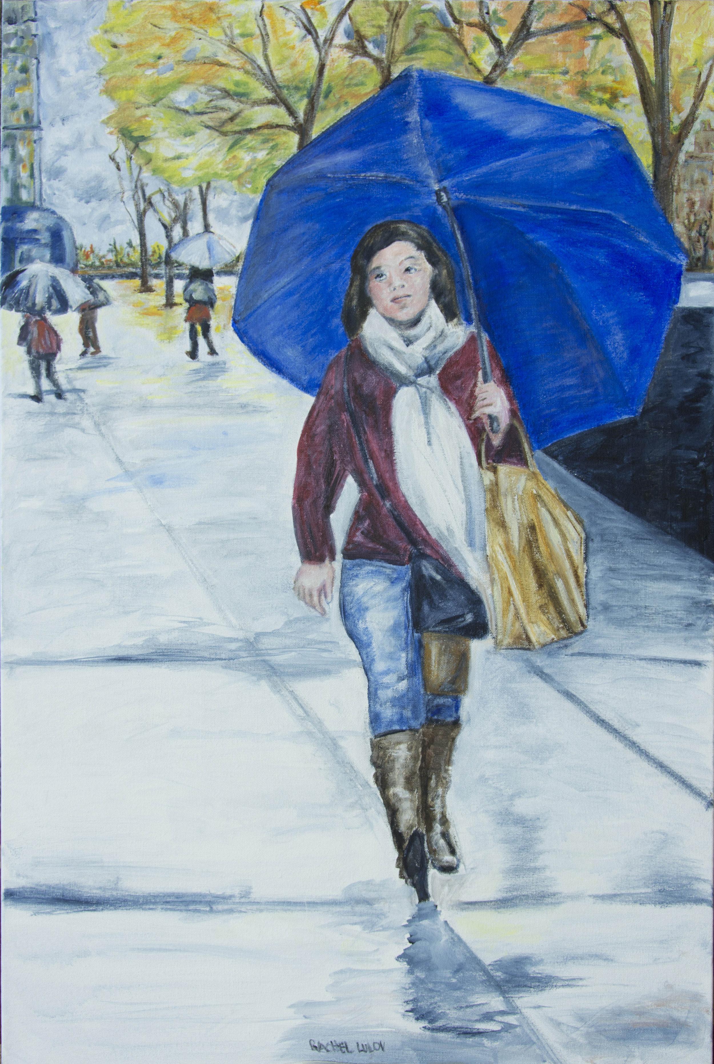 "Blue Umbrella acrylic on canvas 24"" x 36"" Rachel Lulov Segall"
