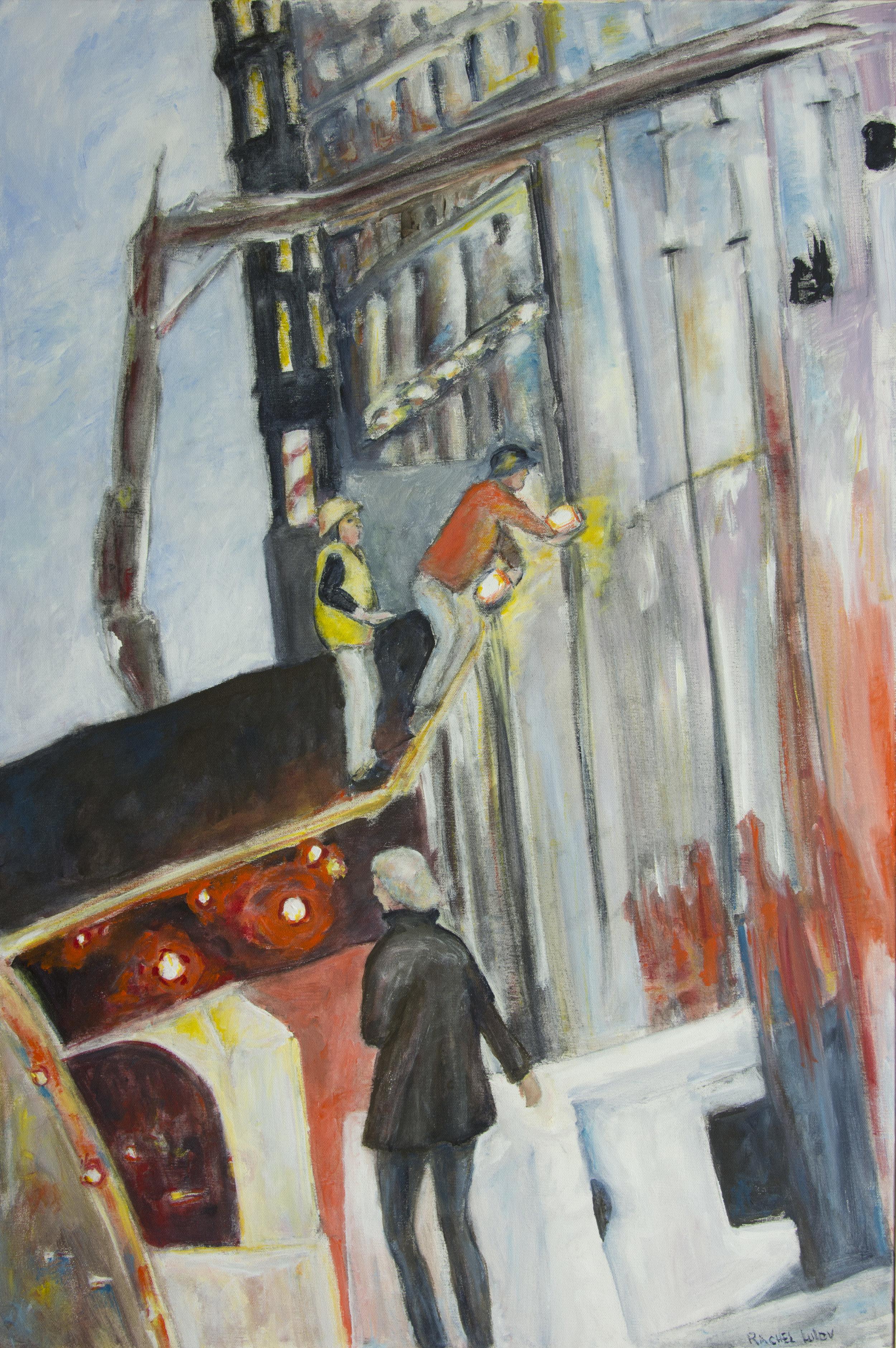 "Woman Passing Construction Site acrylic on canvas 24"" x 36"" Rachel Lulov Segall"
