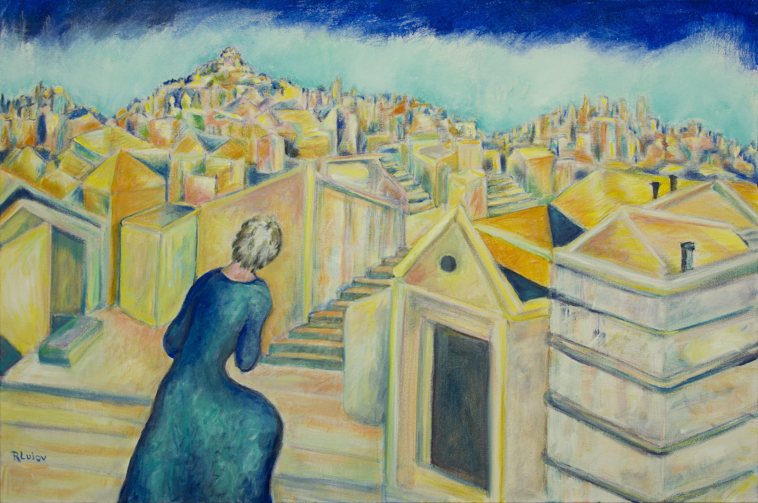 "Dream Labyrinth City acrylic on canvas 24"" x 36"" Rachel Lulov Segall"