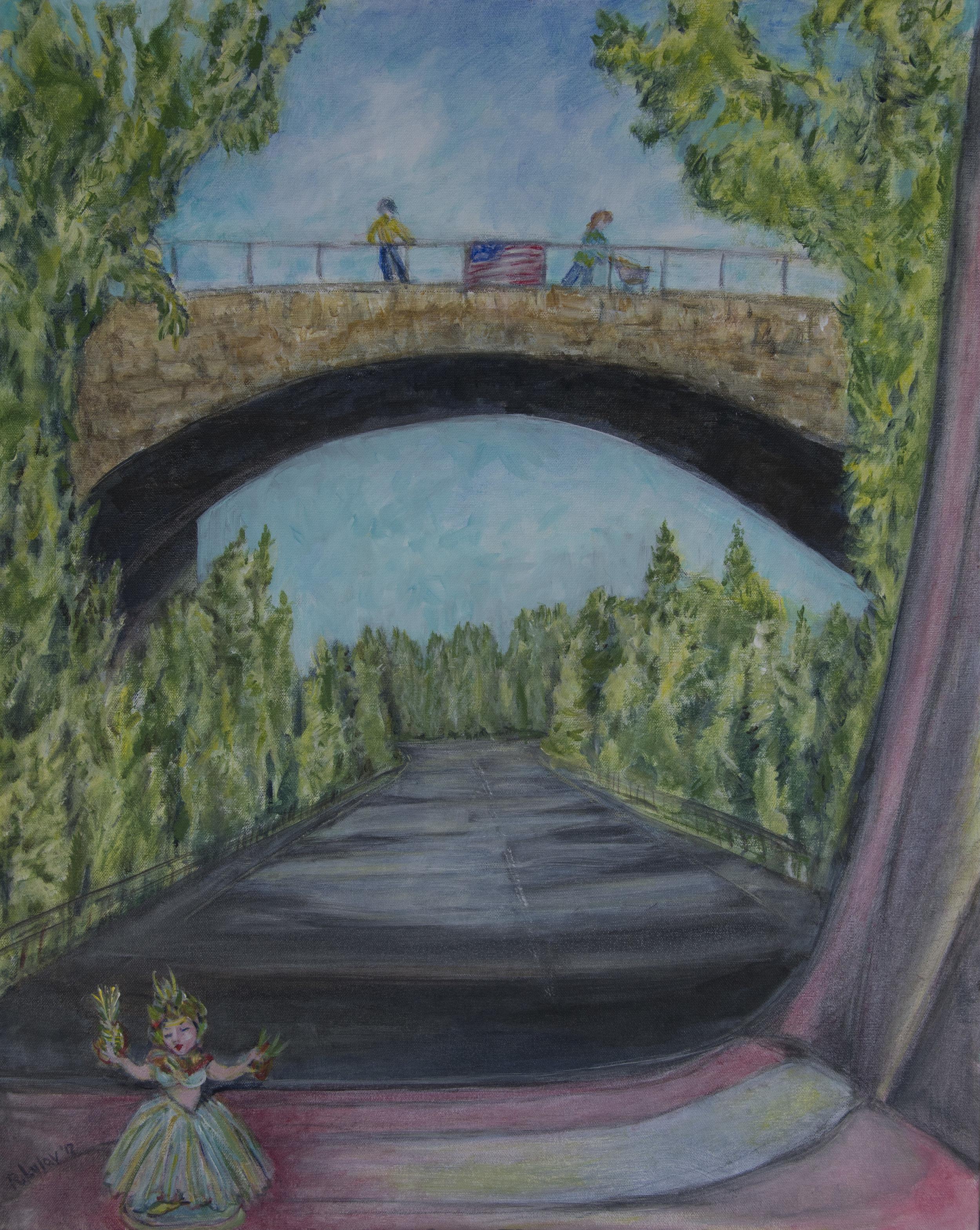 """Overpass acrylic on canvas 24"""" x 30"""" Rachel Lulov Segallacrylic on canvas 24"""" x 30"""" Rachel Lulov Segall"""