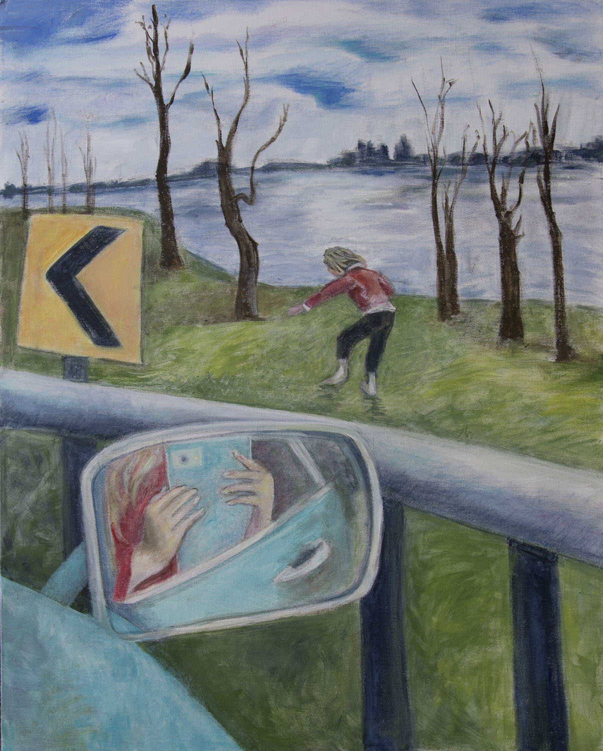 At the Hudson acrylic on canvas 24 x 30 Rachel Lulov Segall