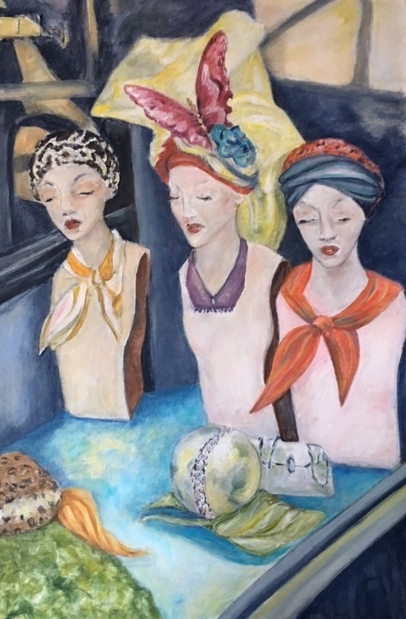 "Three Manikins 23"" x 36 acrylic on canvas"