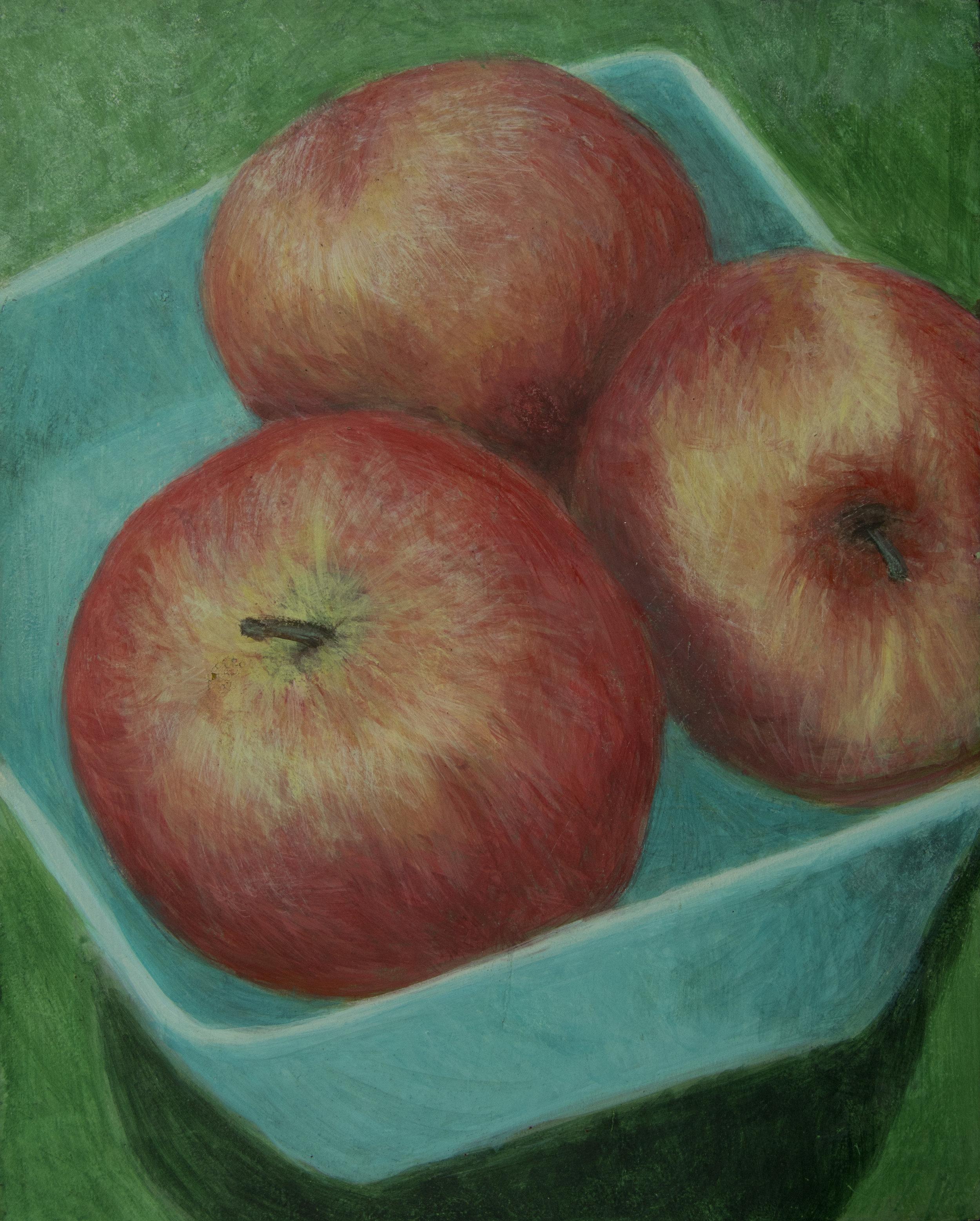 Three Apples egg tempera 8 x 10 Rachel Lulov Segall