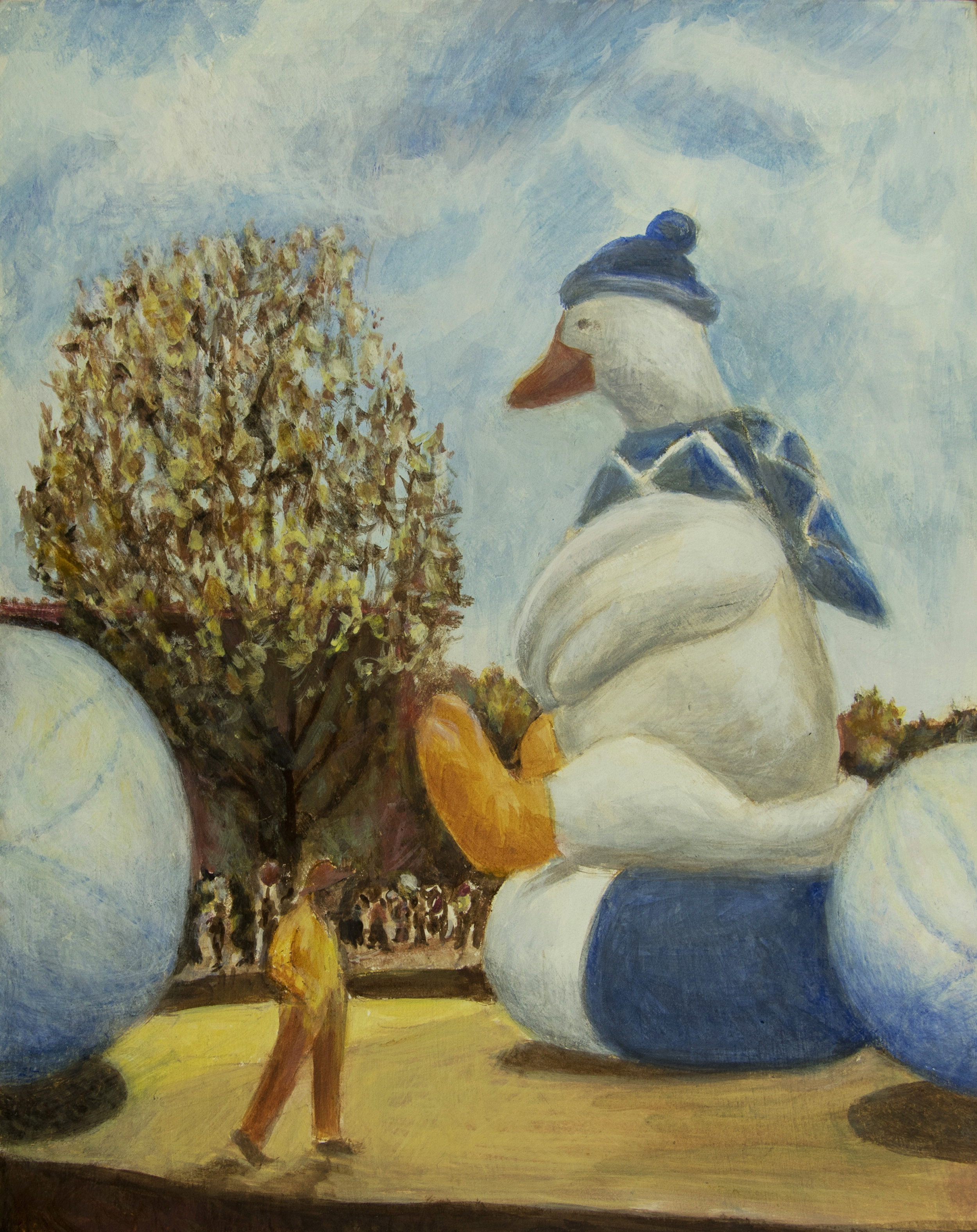 Thanksgiving Day Balloons, egg tempera, 8 x 10 Rachel Lulov Segall