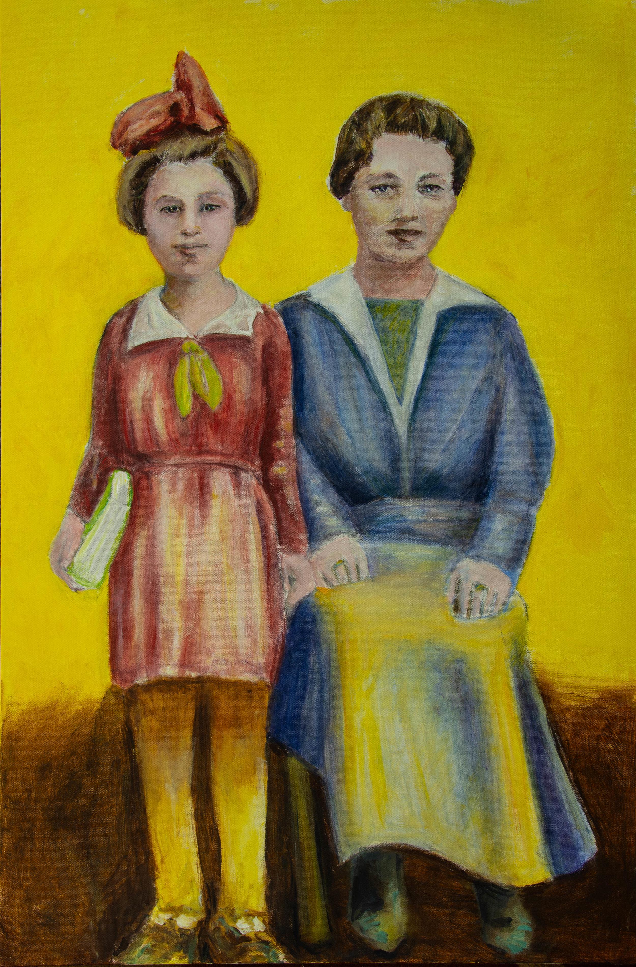 """Rae and Celia, 24x36"""", acrylic on canvas. Rachel Lulov Segall 2018"""