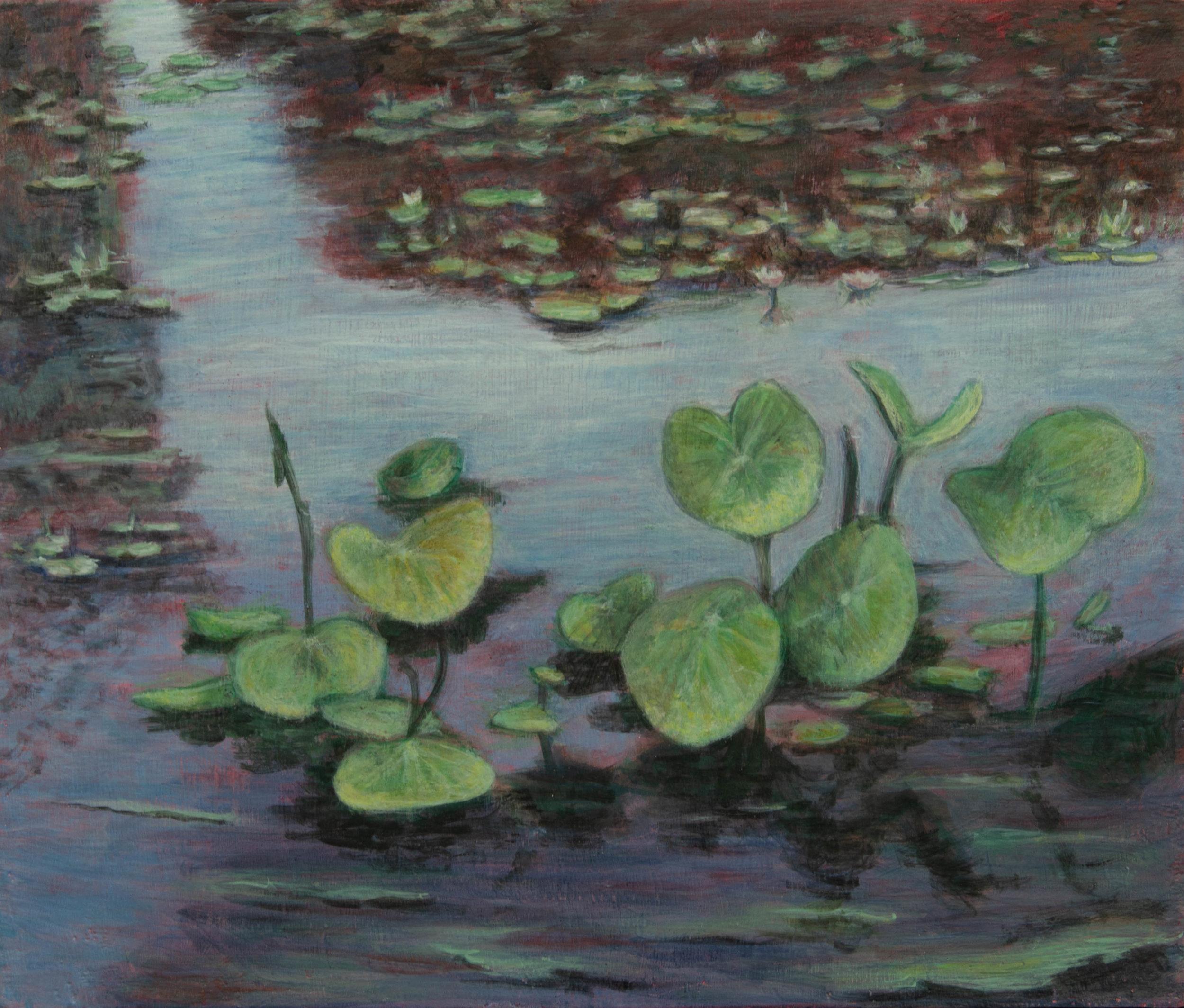 "Water Lilies, Rachel Lulov Segall 2018 Egg Tempera on panel.2018 12""x16"""