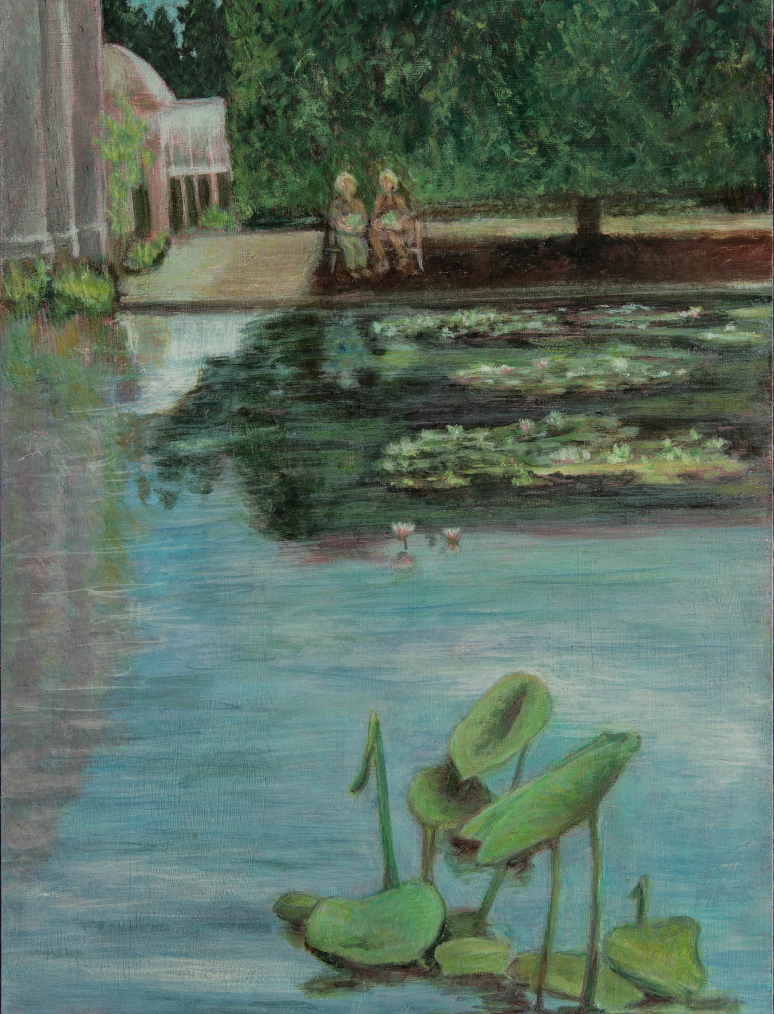 "In the Water Lily Garden, Rachel Lulov Segall, egg tempera on panel 16""x24"" 2018"
