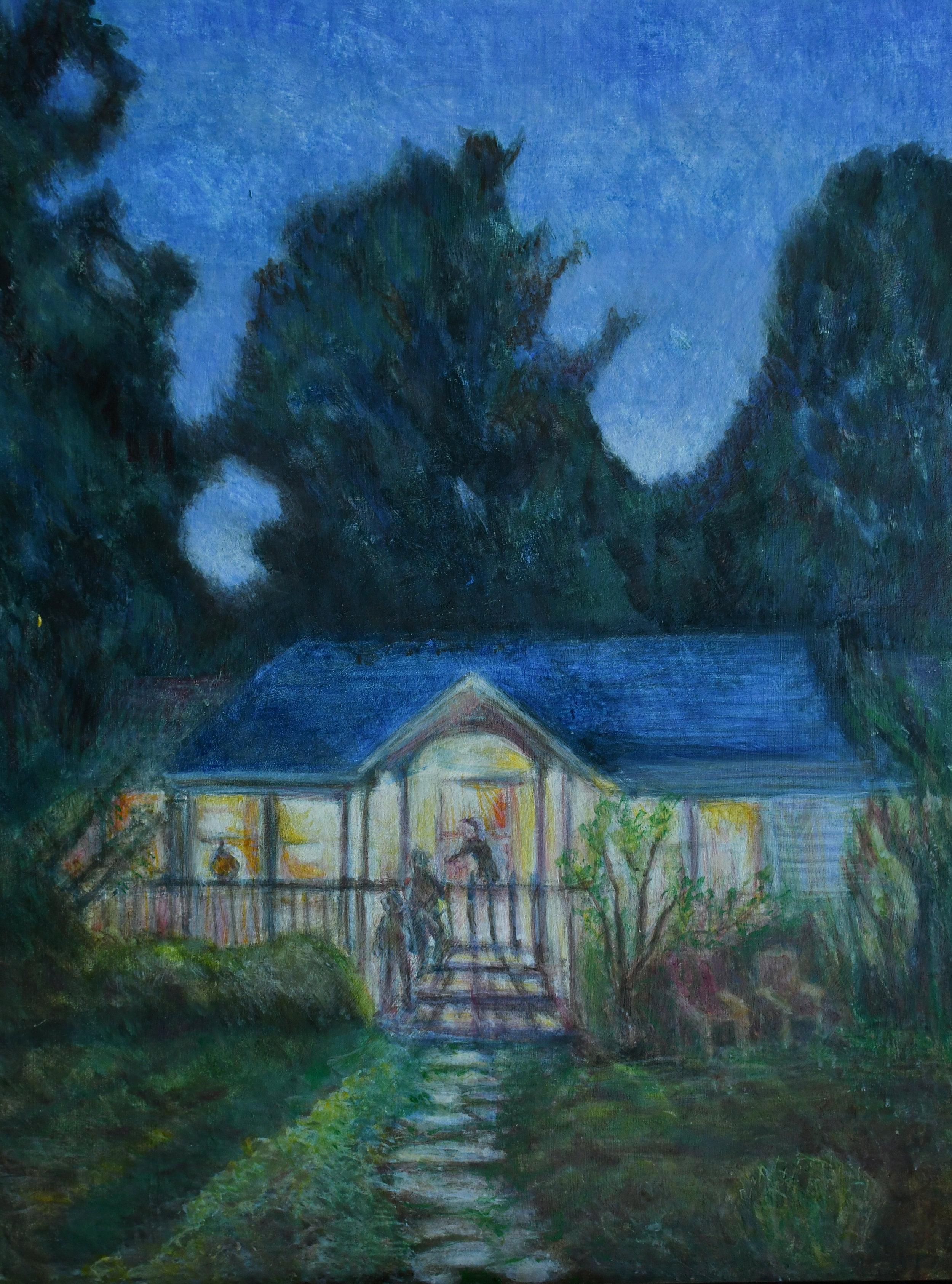 "Early Summer Evening, 16"" x 12"", egg tempera on panel, Rachel lulov Segall"