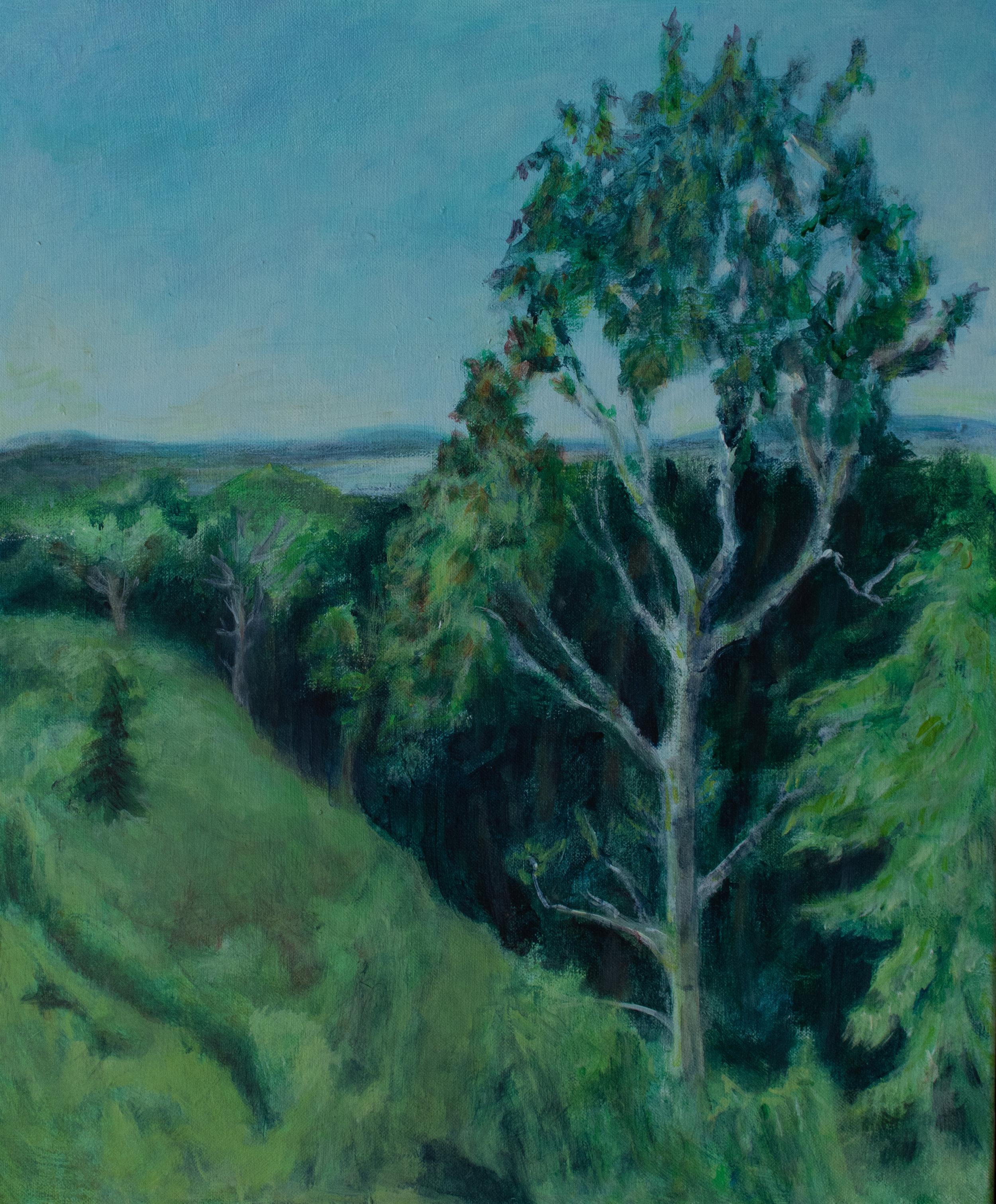 "Catskill Ravine and Hudson River, 30"" x 24"", Acrylic on Canvas, Rachel Lulov Segall"