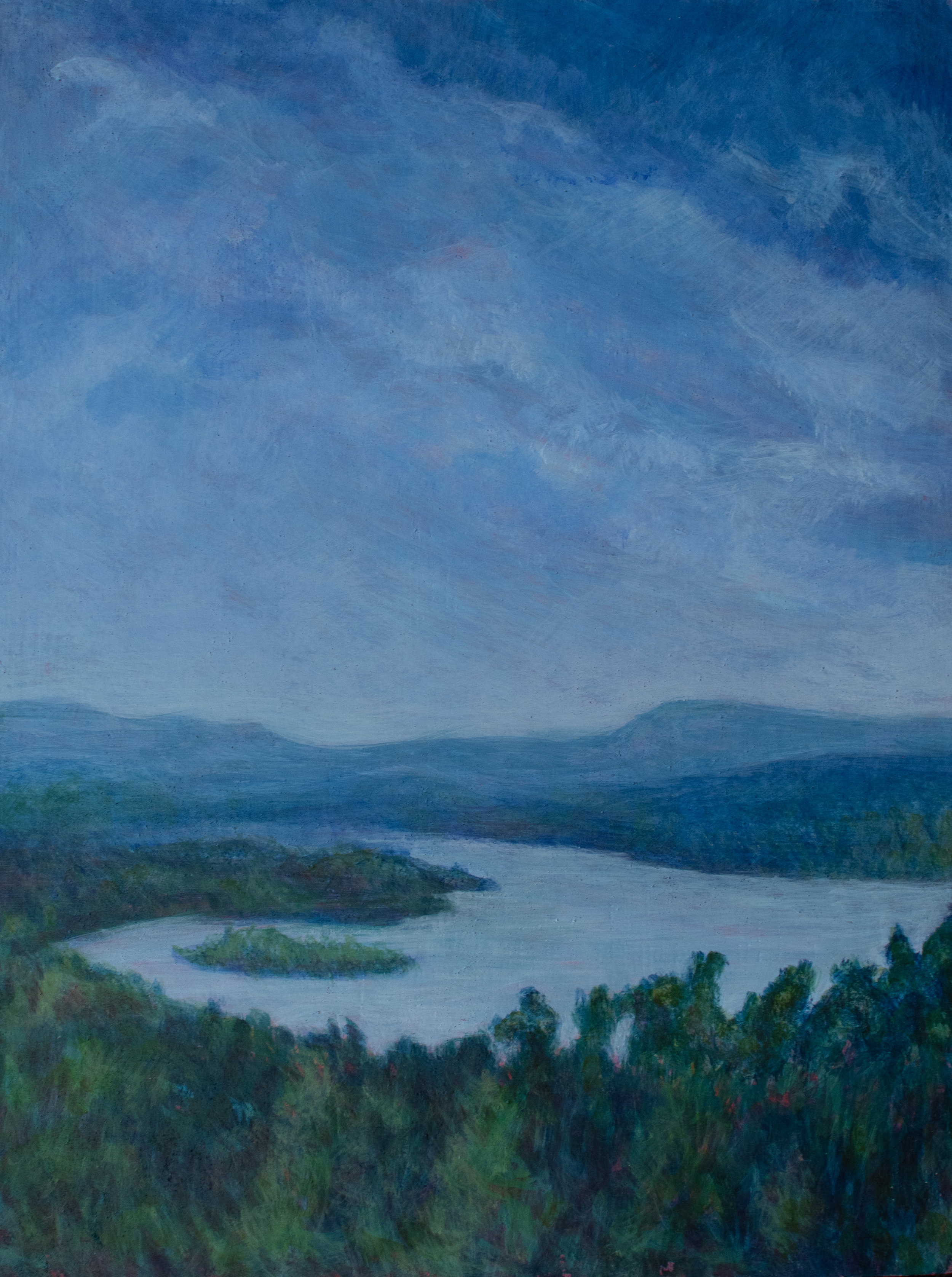 "View From Olanna, 16"" x12"", egg tempera on panel, Rachel Lulov Segall"