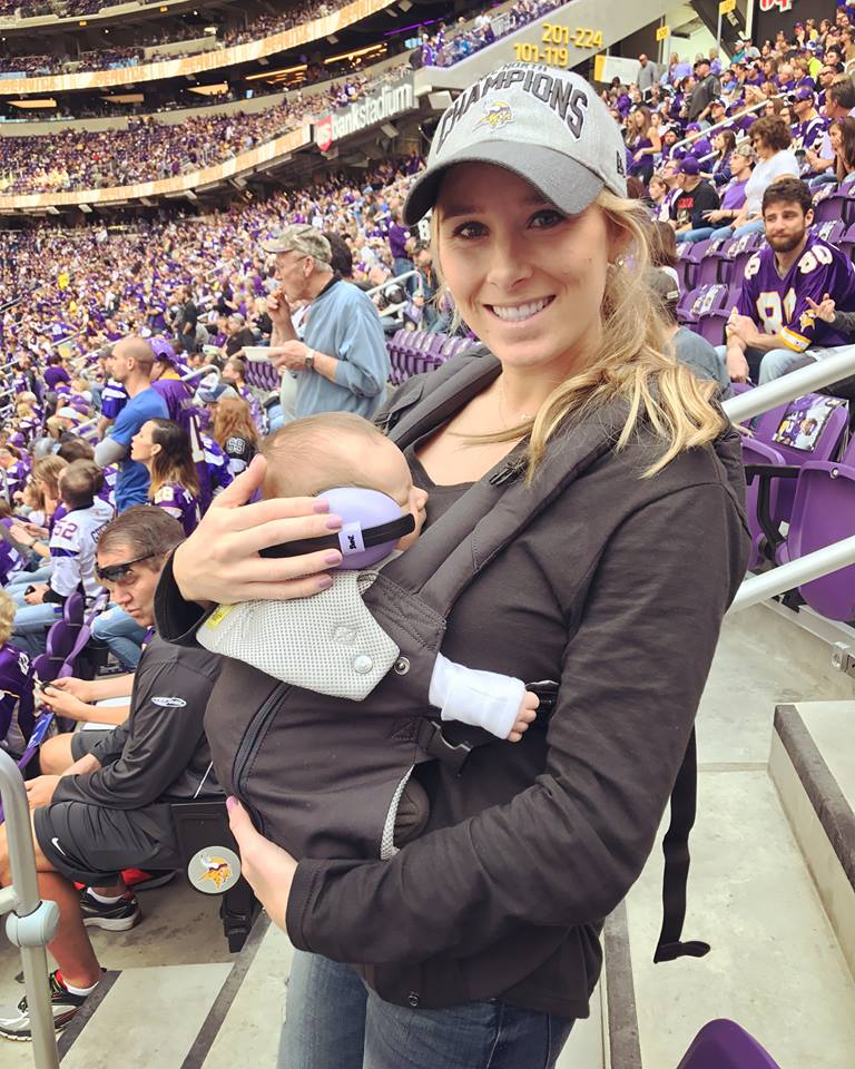 Asher's 1st Vikings game to watch dad! (he was about 3 weeks old)
