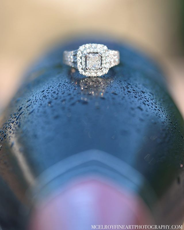 Celebrated with a little Rosé last night. 💍🍾🍾 • • • #stlweddingphotographer #engagementring #macrophotography #stlwed #stlouisengagementphotographer #stlbride #rosé #ofallonilphotographer #mcelroyfineartphoto #stlouisweddingphotographer #stlbride #midwestwedding #midwestbride #ringshot #details #wine #cwescene
