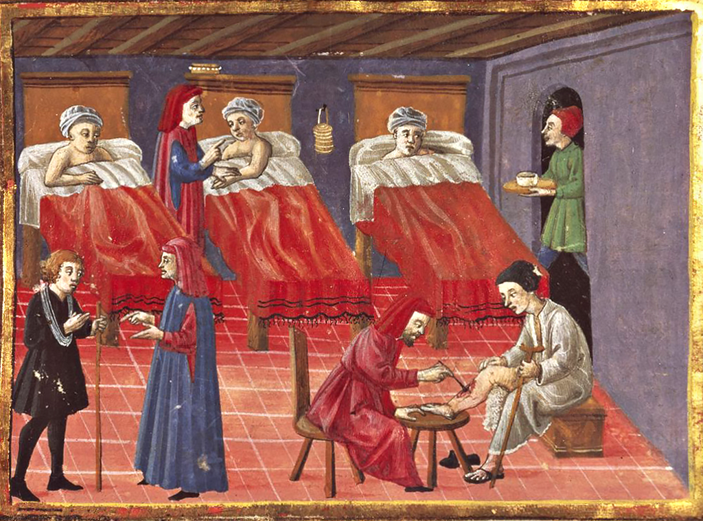 Hospital, Codice Squarcialupi, XV century;Biblioteca Laurenziana, Florence, Italy