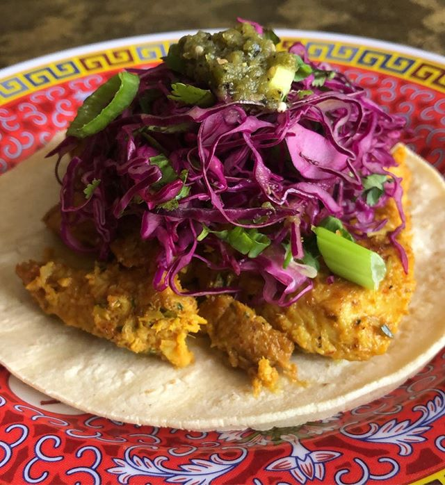 Spicy lemongrass chicken tacos w. purple cabbage & house-made salsa verde on special!