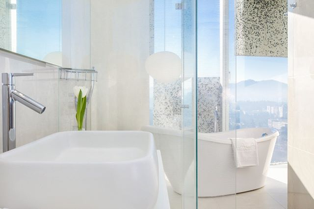 The sense of purity and light. That's the feeling you'd want to convey when you're photo-shooting hotel bathrooms. Feeling cleansed? Anyone?