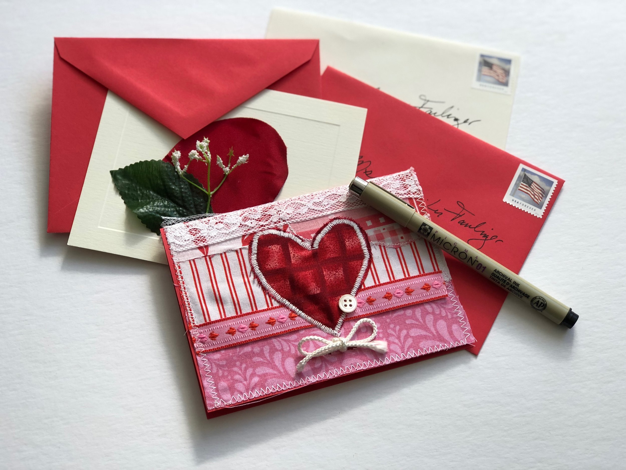 Handmade Valentine's Day cards with envelopes