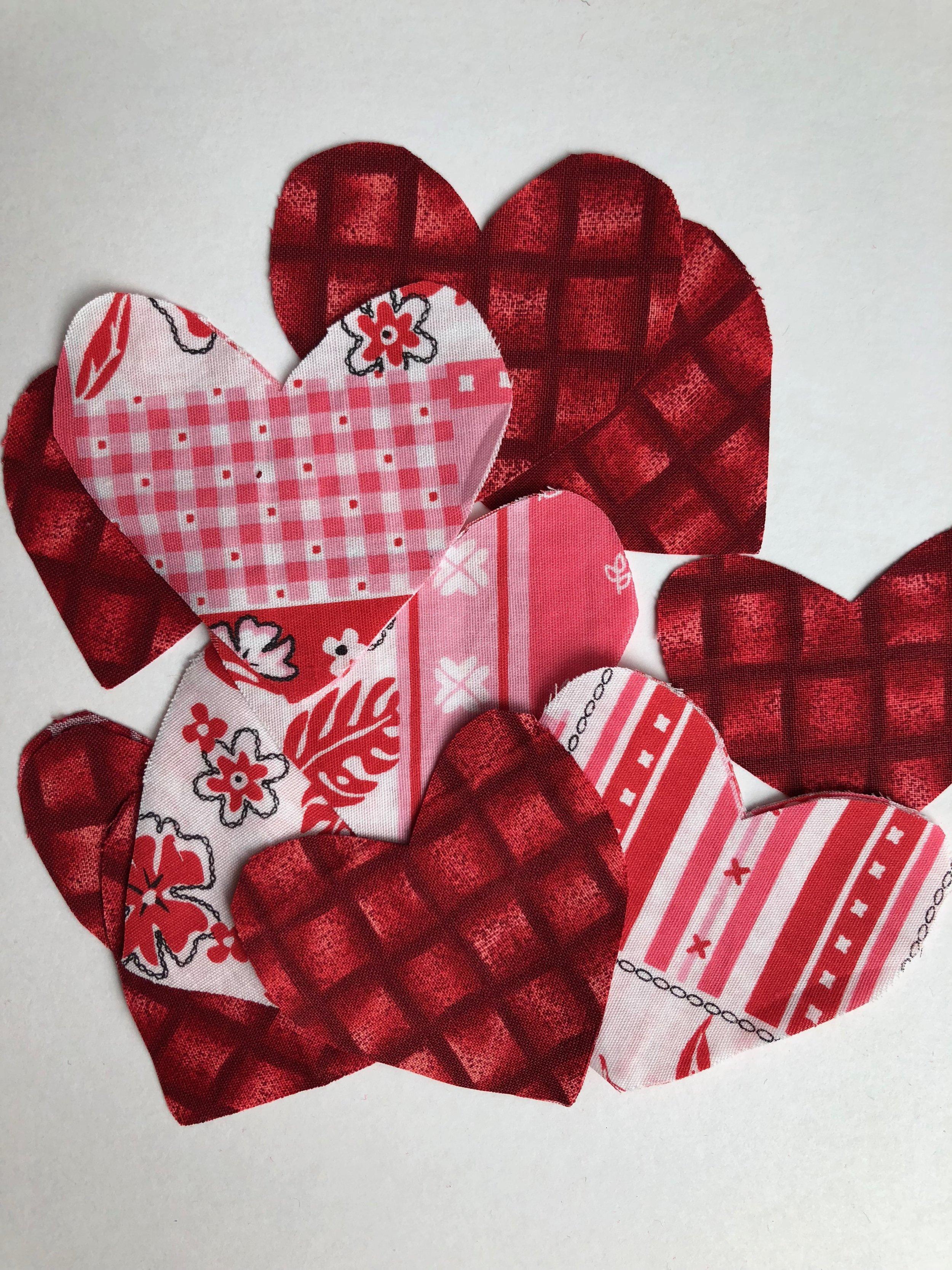 Fabric heart shape cutouts