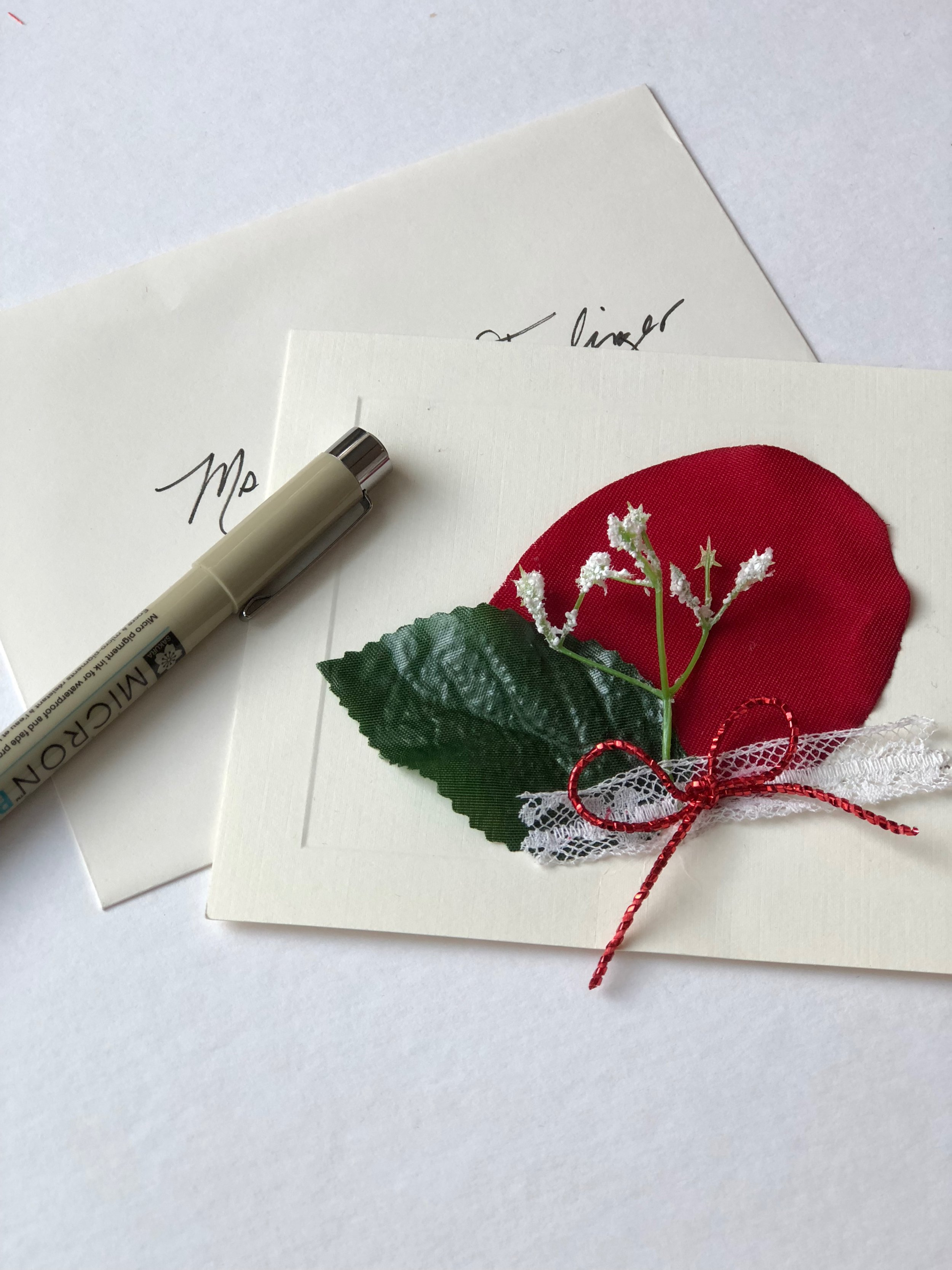 hand embellished Valentine's Day card with rose petals