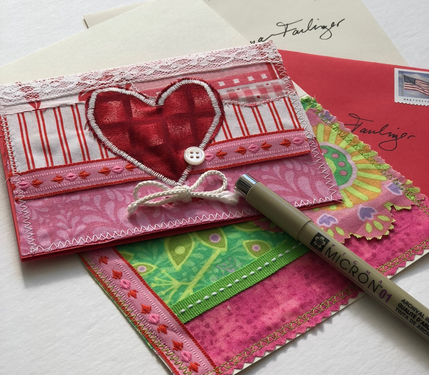 5 - I used a button to cover up a small area of stitching that looked inconsistent.Get creative with other ideas and supplies you have in your stash! You can create birthday or holiday cards of all kinds with items you have in your