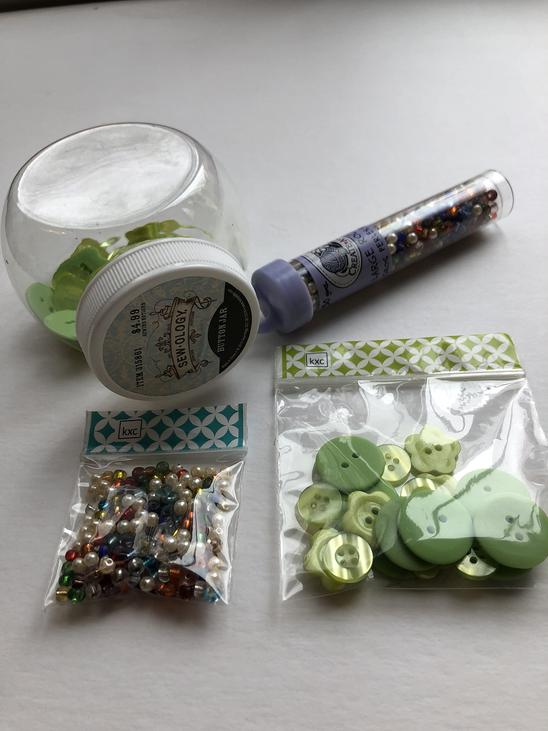 Kitxchange craft pouches with beads and buttons