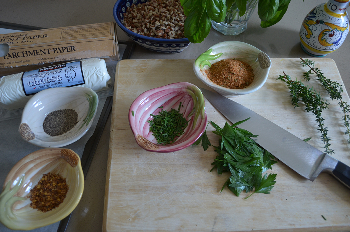Herbs and spices in prep bowls
