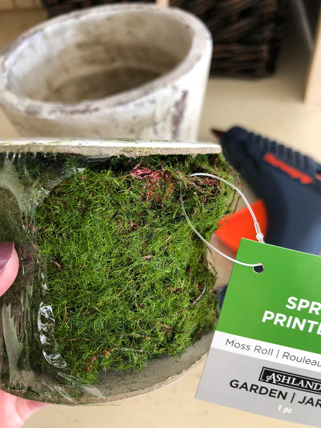 purchased roll of moss ribbon