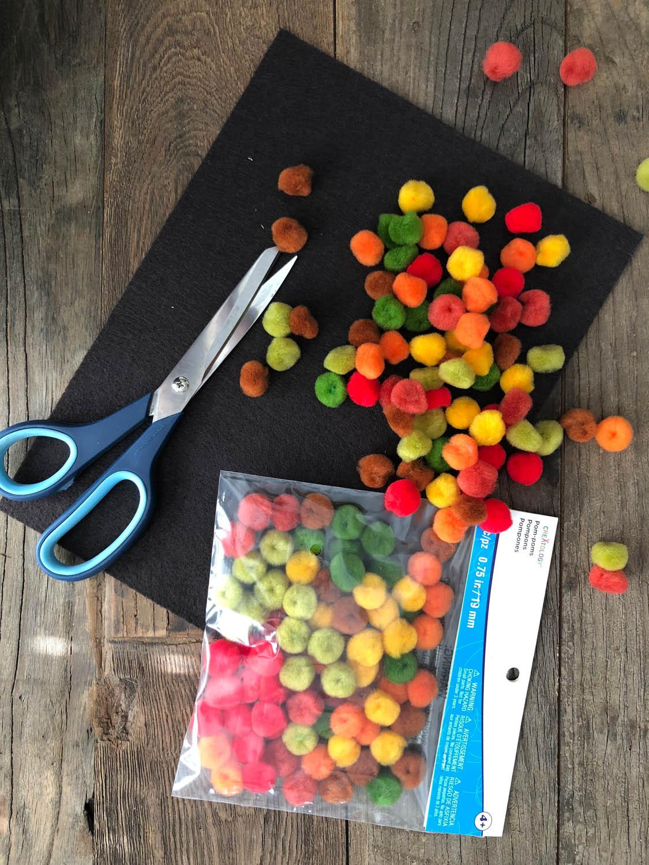 Simple supplies needed for DIY felt and pom-pom coaster