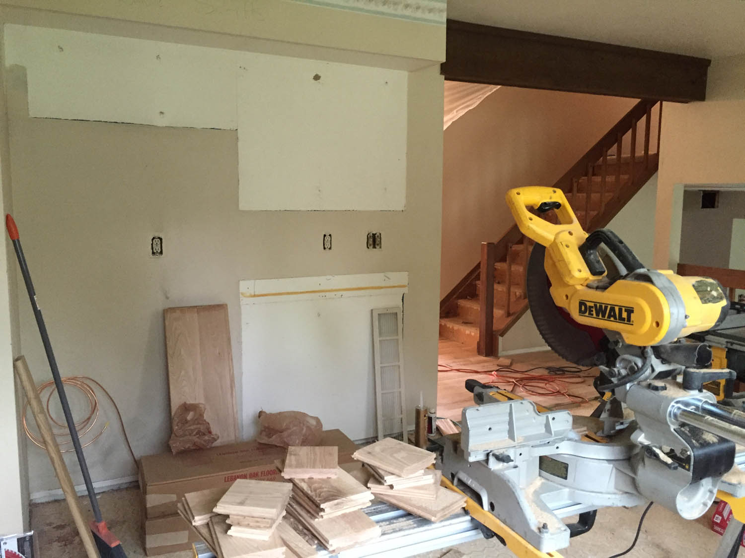 power tools in kitchen during remodel