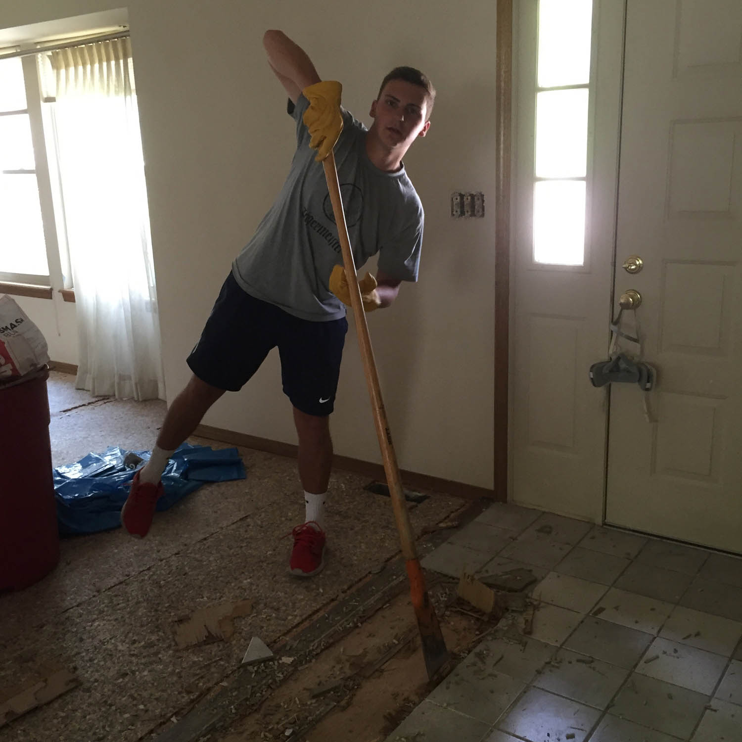 scraping to remove tile flooring