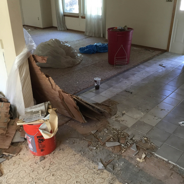 tile flooring debris