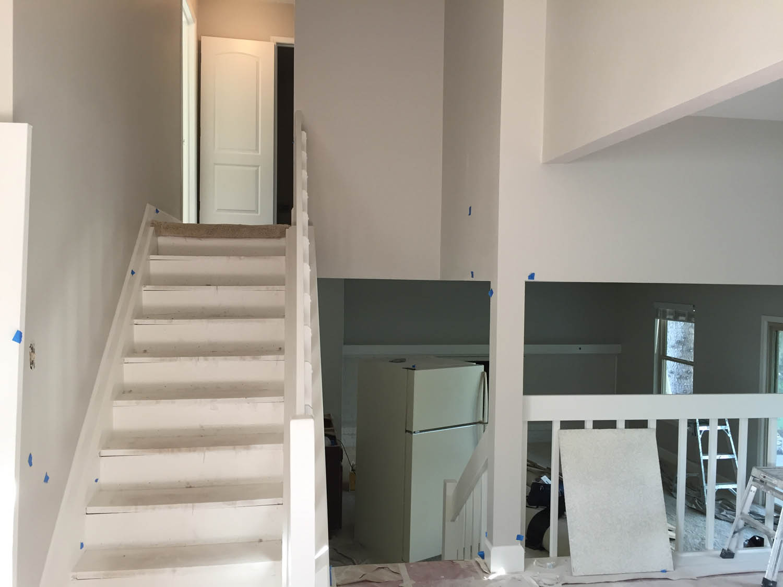 stairwell flooring before hardwood