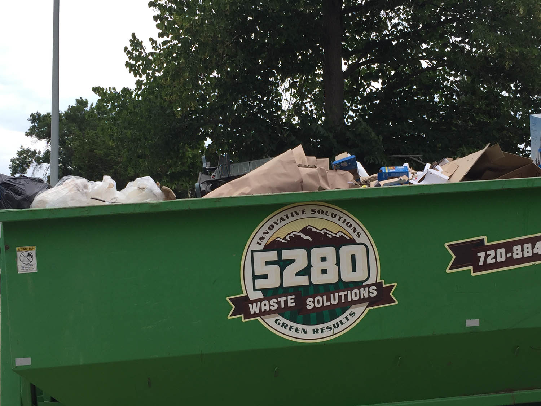 remodeling debris in dumpster