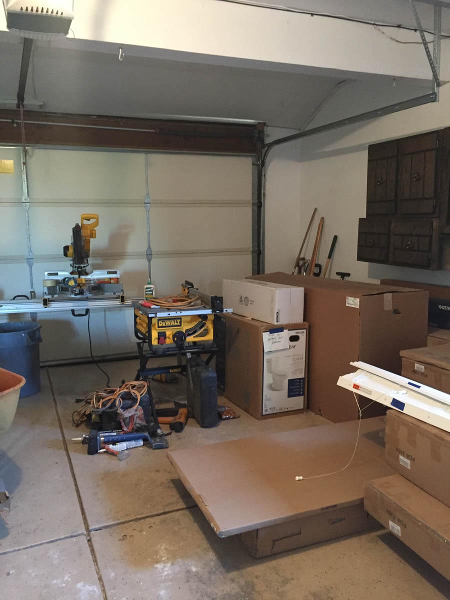 home remodeling supplies stored inside garage