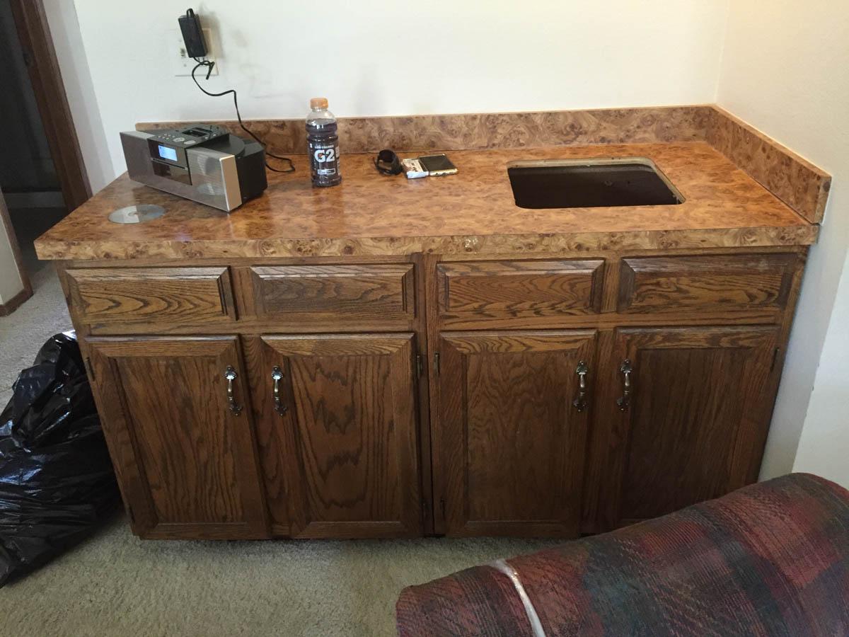 family room bar before remodel