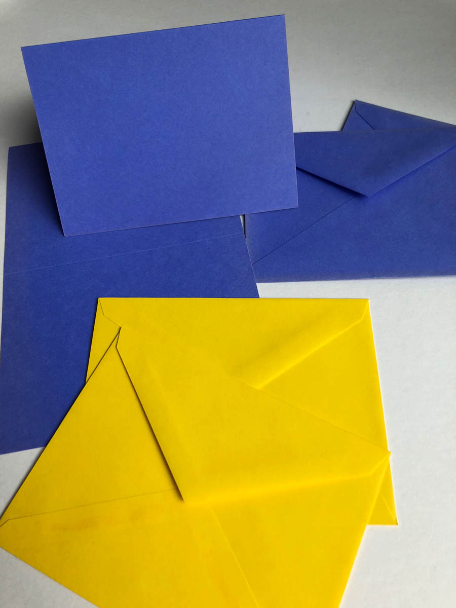 purchased cards and envelopes in bright colors for embellishing